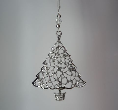 Silver Filigree Christmas Tree with Rhinestones & Crystal - Xmas Tree Decoration